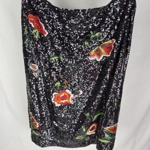 Maeve Anthropologie sequined embroidered motif lined skirt side zipper NWT 8